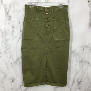 Anthropologie Army Green Button Fly Skirt 👑